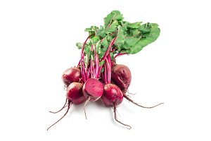 Beet, beetroot bunch on dark background, copy space