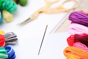 Embroidery floss and needle