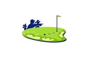 Golfer Caddie Golf Course Retro