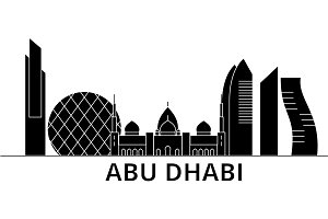 Abu Dhabi architecture vector city skyline, travel cityscape with landmarks, buildings, isolated sights on background
