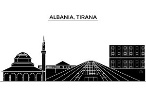 Albania, Tirana architecture vector city skyline, travel cityscape with landmarks, buildings, isolated sights on background