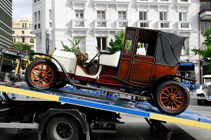 Historical car towed.
