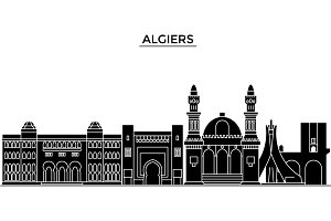 Algiers architecture vector city skyline, travel cityscape with landmarks, buildings, isolated sights on background