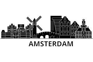 Amsterdam architecture vector city skyline, travel cityscape with landmarks, buildings, isolated sights on background