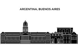 Argentina, Buenos Aires architecture vector city skyline, travel cityscape with landmarks, buildings, isolated sights on background