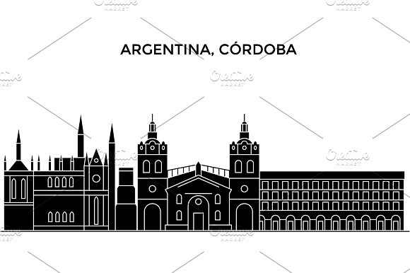 Argentina Cordoba Architecture Vector City Skyline Travel Cityscape With Landmarks Buildings Isolated Sights On Background