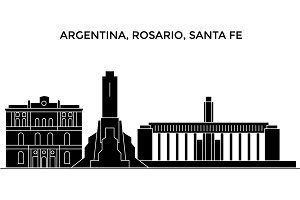 Argentina, Rosario (Santa Fe) architecture vector city skyline, travel cityscape with landmarks, buildings, isolated sights on background
