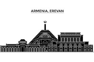 Armenia, Erevan architecture vector city skyline, travel cityscape with landmarks, buildings, isolated sights on background