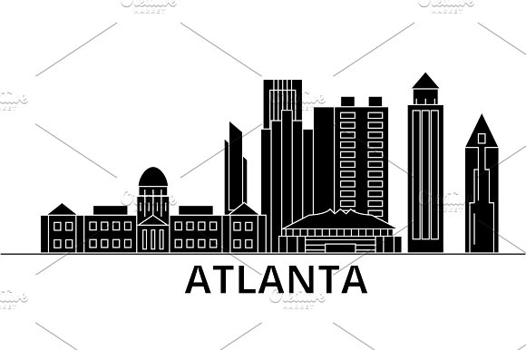 Atlanta Architecture Vector City Skyline Travel Cityscape With Landmarks Buildings Isolated Sights On Background
