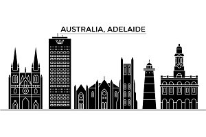 Australia, Adelaide architecture vector city skyline, travel cityscape with landmarks, buildings, isolated sights on background
