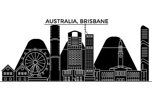 Australia, Brisbane architecture vector city skyline, travel cityscape with landmarks, buildings, isolated sights on background