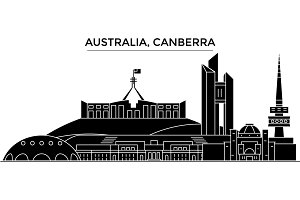 Australia, Canberra architecture vector city skyline, travel cityscape with landmarks, buildings, isolated sights on background