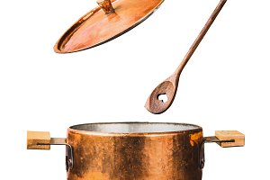 Cooking pot with lid and spoon
