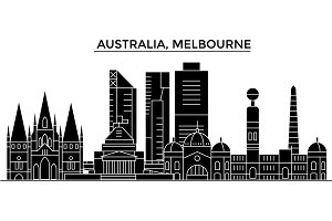 Australia, Melbourne architecture vector city skyline, travel cityscape with landmarks, buildings, isolated sights on background