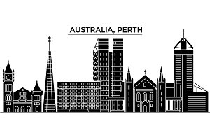 Australia, Perth architecture vector city skyline, travel cityscape with landmarks, buildings, isolated sights on background