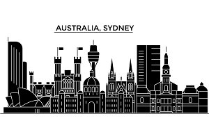 Australia, Sydney architecture vector city skyline, travel cityscape with landmarks, buildings, isolated sights on background