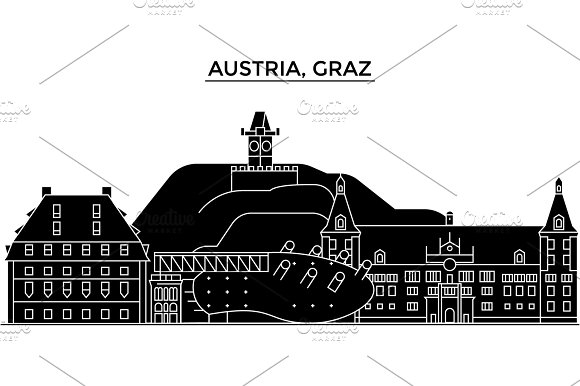 Austria Graz Architecture Vector City Skyline Travel Cityscape With Landmarks Buildings Isolated Sights On Background