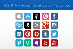 iOS Style–Social Media Icons–Vector