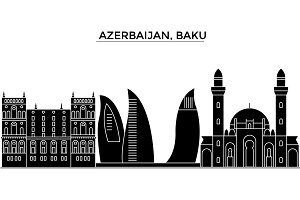 Azerbaijan, Baku architecture vector city skyline, travel cityscape with landmarks, buildings, isolated sights on background
