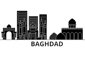 Baghdad architecture vector city skyline, travel cityscape with landmarks, buildings, isolated sights on background