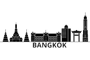 Bangkok architecture vector city skyline, travel cityscape with landmarks, buildings, isolated sights on background