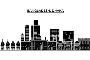 Bangladesh, Dhaka architecture vector city skyline, travel cityscape with landmarks, buildings, isolated sights on background