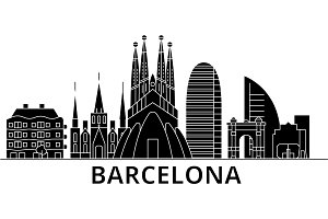 Barcelona architecture vector city skyline, travel cityscape with landmarks, buildings, isolated sights on background