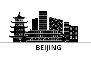 Beijing architecture vector city skyline, travel cityscape with landmarks, buildings, isolated sights on background