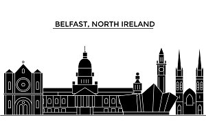 Belfast, North Ireland architecture vector city skyline, travel cityscape with landmarks, buildings, isolated sights on background