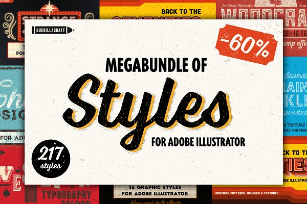 Photoshop Layer Styles: Guerillacraft - Megabundle of Illustrator Styles