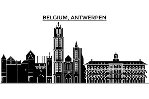 Belgium, Antwerpen architecture vector city skyline, travel cityscape with landmarks, buildings, isolated sights on background