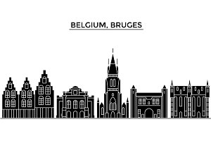 Belgium, Bruges architecture vector city skyline, travel cityscape with landmarks, buildings, isolated sights on background