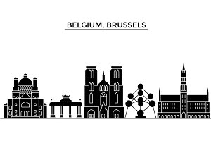 Belgium, Brussels architecture vector city skyline, travel cityscape with landmarks, buildings, isolated sights on background