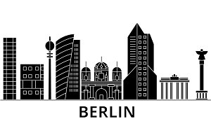 Berlin architecture vector city skyline, travel cityscape with landmarks, buildings, isolated sights on background