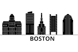 Boston architecture vector city skyline, travel cityscape with landmarks, buildings, isolated sights on background