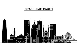 Brazil, Sao Paulo architecture vector city skyline, travel cityscape with landmarks, buildings, isolated sights on background
