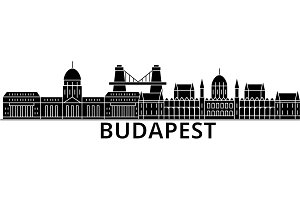 Budapest architecture vector city skyline, travel cityscape with landmarks, buildings, isolated sights on background