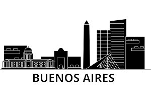 Buenos Airos architecture vector city skyline, travel cityscape with landmarks, buildings, isolated sights on background