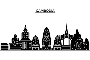 Cambodia architecture vector city skyline, travel cityscape with landmarks, buildings, isolated sights on background
