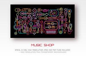Music Shop Neon Artwork