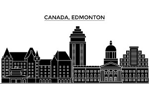 Canada, Edmonton architecture vector city skyline, travel cityscape with landmarks, buildings, isolated sights on background