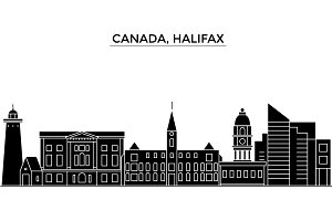 Canada, Halifax architecture vector city skyline, travel cityscape with landmarks, buildings, isolated sights on background
