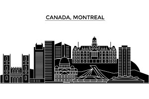 Canada, Montreal architecture vector city skyline, travel cityscape with landmarks, buildings, isolated sights on background