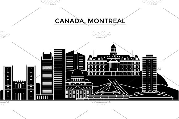 Canada Montreal Architecture Vector City Skyline Travel Cityscape With Landmarks Buildings Isolated Sights On Background