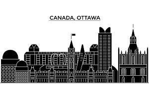 Canada, Ottawa architecture vector city skyline, travel cityscape with landmarks, buildings, isolated sights on background