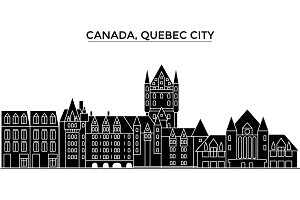 Canada, Quebec City architecture vector city skyline, travel cityscape with landmarks, buildings, isolated sights on background
