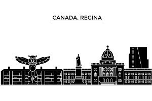 Canada, Regina architecture vector city skyline, travel cityscape with landmarks, buildings, isolated sights on background