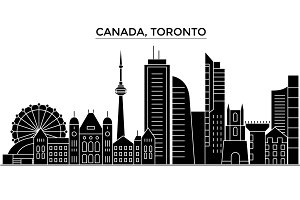 Canada, Toronto architecture vector city skyline, travel cityscape with landmarks, buildings, isolated sights on background