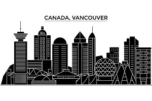 Canada, Vancouver architecture vector city skyline, travel cityscape with landmarks, buildings, isolated sights on background