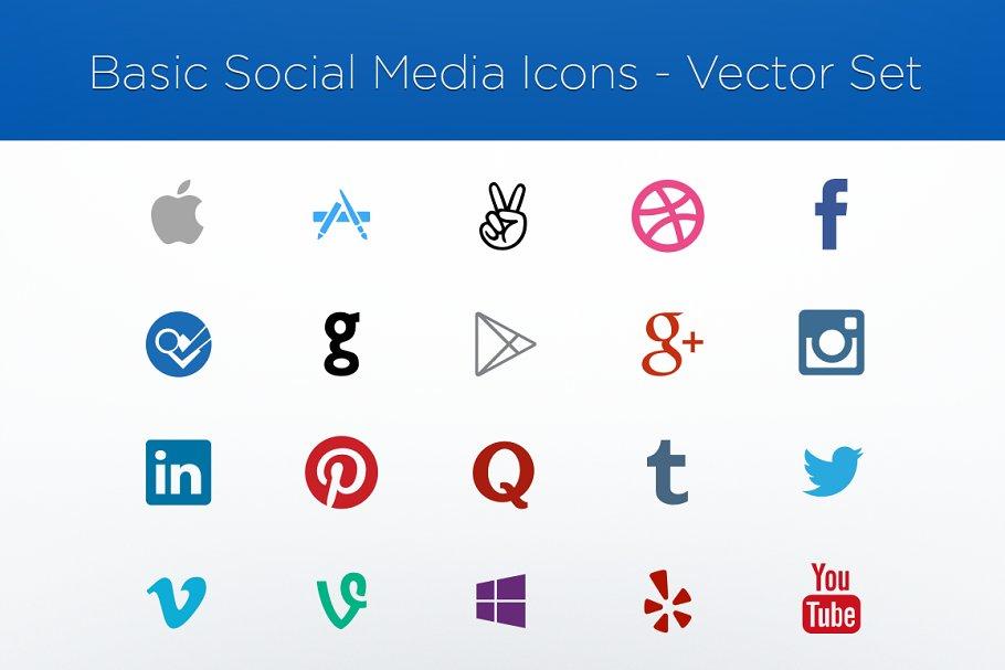 Social Media Logos Vector Set